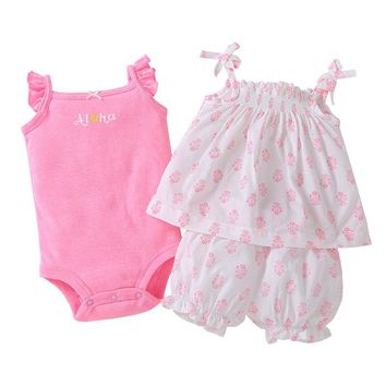 Hot sale Baby clothes cotton pink floral Baby Clothing Set baby rompers Girls summer pattern Sets 3 pieces/set