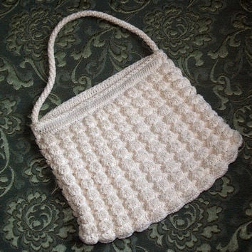 Vintage Crocheted Corde Purse Handbag, Cream Off-White