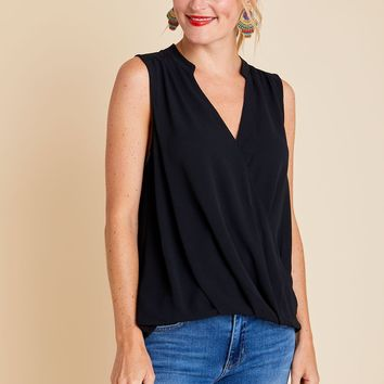 Lush Sleeveless Surplice Top