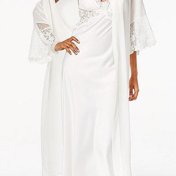 "Nightgown - ""Farrah"" Bridal Charmeuse & Lace (Robe Available) (XS-Large)"