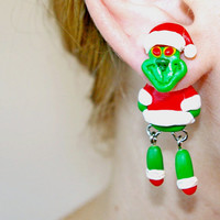 Christmas Grinch Earrings, Dr Seuss dangling, fake gauge,Xmas fake plug,two part,child clinging gift,front back,Unique faux gauge,unusual