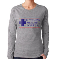 JUST LOGO Grey Sloan Memorial Hospital on Longsleeve Women tee (G4400L Gildan Junior Fit Soft Style)