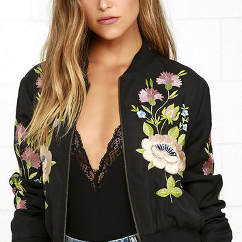 Glamorous Horticulture Club Black Embroidered Bomber Jacket