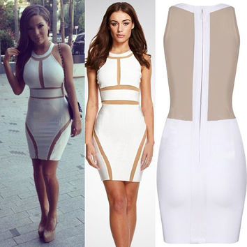 White Sleeveless Mesh Cut-Out Bodycon Dress