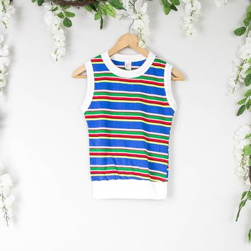 Vintage 70s Striped Sleeveless Top