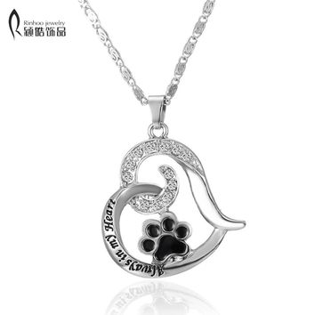 Pet Memorial Jewelry Always in my Heart Dog Cat Foot Paw Print Heart Pet Lover Pendant Necklace Animal Keepsake Charms jewelry