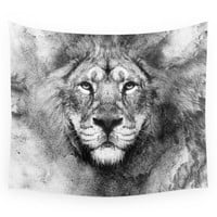 Society6 Lion Black And White Wall Tapestry