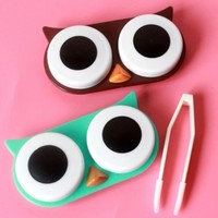 Owl Contact Lens Case Cute Travel Storage Soak Kit Hard Holder Container Box