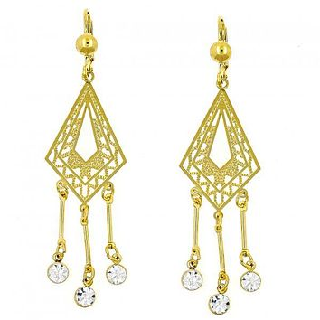 Gold Layered 02.211.0009 Chandelier Earring, with White Crystal, Diamond Cutting Finish, Golden Tone