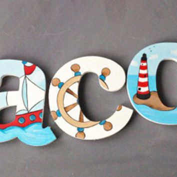Nautical Wooden Wall Name Letters / Hangings, Hand Painted for Boys Rooms, Play Rooms and Nursery Rooms