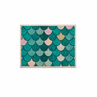 """Famenxt """"Mermaid Fish Scales"""" Teal Nautical Illustration KESS Naturals Canvas (Frame not Included)"""