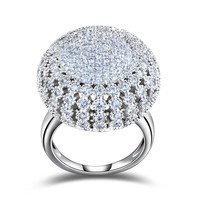 Women's Charming Silver Full Paved Round Shaped Vintage Ring