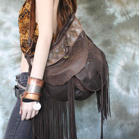 Leather bag 3d pocket hobo brown wooden button bohemian boho festival tribal african  purse sweet smoke free people snake  leather wooden