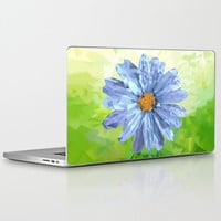 """High Quality Laptop Skin for MacBook Air/ Pro/ Retina 11"""" 13"""" 15"""" 17"""" and PC Laptops 13"""" 15"""" 17""""  - Daisy Blue Diamond Floral Decal"""