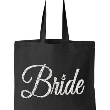Silver Gold or your choice Glitter Bride Black Tote Bag - Bride to Be, Newlywed, Bridal, Wedding, Shower, Bachelorette Party Gift