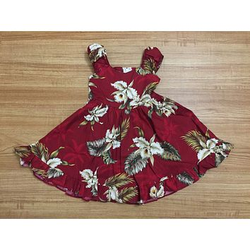 KY's Red Girls Sundress With White Orchids