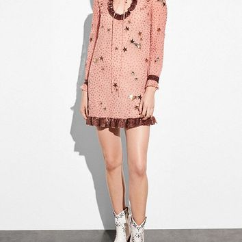 Embellished Outerspace Print Dress