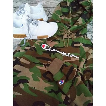 Champion women men camouflage Fashion long sleeve letters embroidered drawstring hooded sweater pullover top I