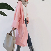 Ribbed Open-Front Long Cardigan