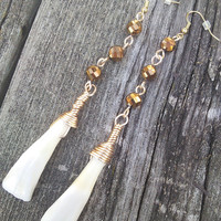 Buffalo Tooth Earrings,Real Animal Bone Jewelry,Long Brown Earrings,Taxidermy jewelry, gypsy earrings.Shaman Earrings,Boho earrings, larp