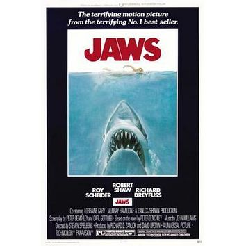 Jaws Movie poster Metal Sign Wall Art 8in x 12in