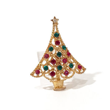 Rhinestone Christmas Tree Pin Eisenberg Ice  Gold Tone  Red And Green Rhinestones  Signed  Vintage 1980's 1990's Collectible Holiday Jewelry