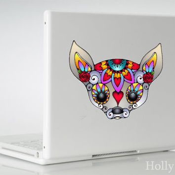 Sugar Skull Chihuahua Vinyl Decal Sticker
