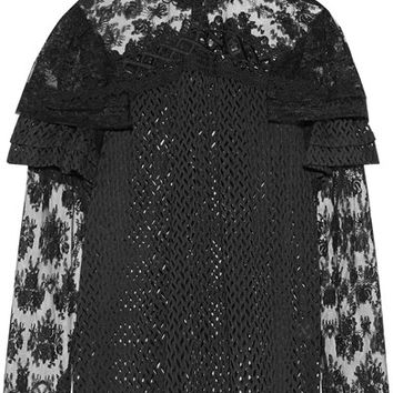 Anna Sui - Ruffled embroidered lace blouse