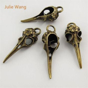 ESBONFI Julie Wang 5pcs Mini Charms Antique Bronze Skull Bird Head Pointed Mouth Pendant Handmade Hanging Crafts