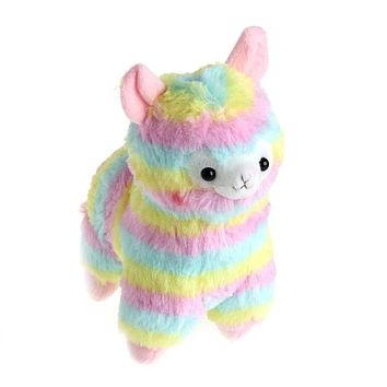 Lovely Rainbow Alpaca Plush Toy Baby Stuffed Soft Plush Doll Stylish Gift 17cm #H055#