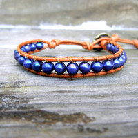 Beaded Leather Single Wrap Stackable Bracelet with Purple Blue Freshwater Pearl Beads on Natural Saddle Genuine Leather
