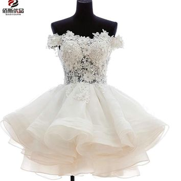 Sweetheart Appliques Ruffles Tiered Hollow Short Prom Dress Ball Gown Above Knee Mini Homecoming Party Gowns Cocktail Dresses