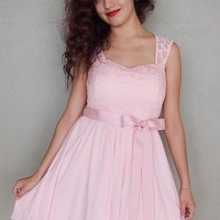 Endless In Elegance Pink Lace Skater Dress