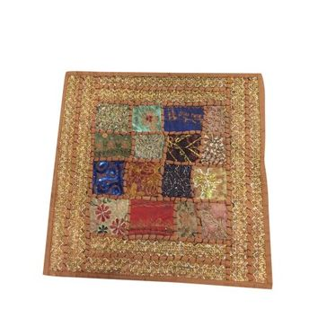 """Mogul Indian Cushion Cover Ethnic Embroidered Sequins Zari Patchwork Vintage Brown Pillow Cover 16""""x16"""" - Walmart.com"""