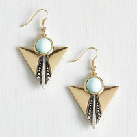 ModCloth Vintage Inspired Frill it Up Earrings in Mint