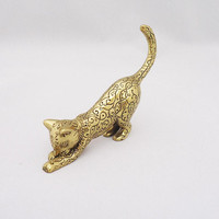 Vintage TMF Frankling Mint Cat Figurine, Asian Brass Franklin Mint Curio Cabinet Cat, Sleek Cat, Brass Cat Figuine