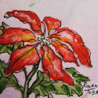 Poinsettia ACEO watercolor print 457 Christmas by watercolorsNmore Art Card