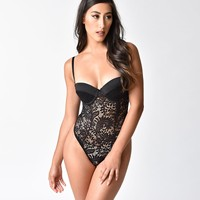Vintage Style Black Lace Push Up Cup Monroe Teddy