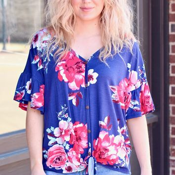 {Navy} Knot It Ruffle Sleeve Floral Top