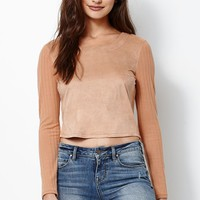 Kendall & Kylie Faux Suede Ribbed Long Sleeve Top - Womens Tee - Brown