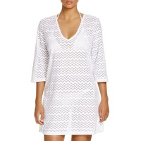 J. Valdi Womens Mesh Chevron Dress Swim Cover-Up