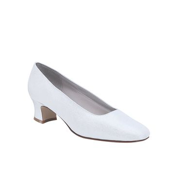 "IS-Dyeables June 2"" Heel B Width White Satin Pump Size 5, Wedding shoe"