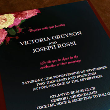 Printable Roses Wedding Invitation and Save The Date Postcard - DIY Template - Customizable PDF in Adobe Reader - Instant Download