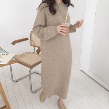 Autumn Winter Solid Long Sleeve Long Sweater Dress Female Pullover Straight Knitted Dress O-Neck Korean Clothes Loose Robe