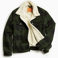 Levis Buffalo Plaid Flannel Sherpa Trucker Jacket - Urban Outfitters