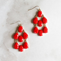 Jeweled Drop Earrings in Red