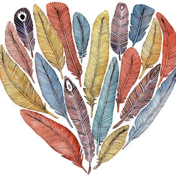 Fiona's Heart - Feather Painting Archival Print