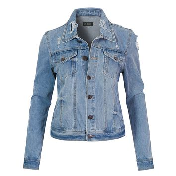 Classic Vintage Distressed Long Sleeve Ripped Denim Jean Jacket