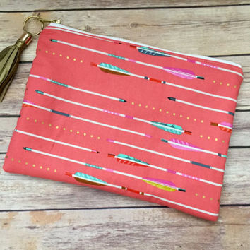 Coral and Gold Arrow Clutch with Gold Leather Tassel, Oversized Coral Arrow Clutch, Gold Fringe Clutch