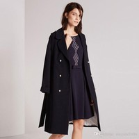 2017Apparel Winter Women Coat Solid Blue Autumn Warm Chic Trench Coat Loose Office Lady Coat Classic Brief Outwears